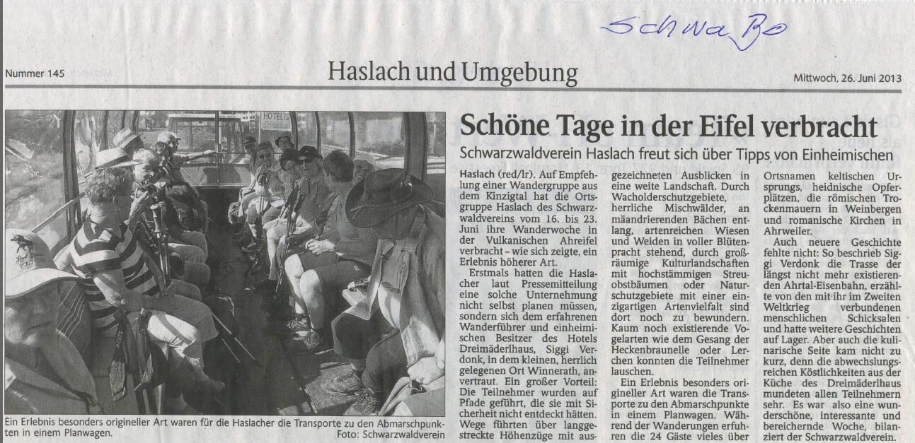 """Pressebericht aus """"Schwarzwälder Bote"""" vom 26.06.2013"""