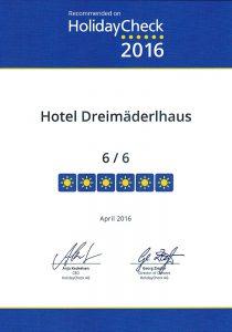 Holiday Check 2016 für Dreimäderlhaus